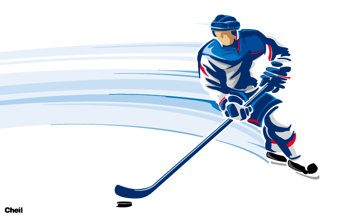 how to draw a watching hockey player
